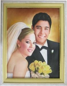 Retrato cuadro matrimonial boda